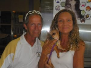 "It all ends with the best of ""Happy Tails."" Poncho was quickly adopted by a loving family of his very own. Poncho's adoring adopters Mathew Farrell and Subrina Bartel"